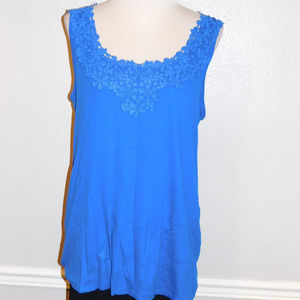 18/20 Lane Bryant Blue Lace Sleeveless Cami Top